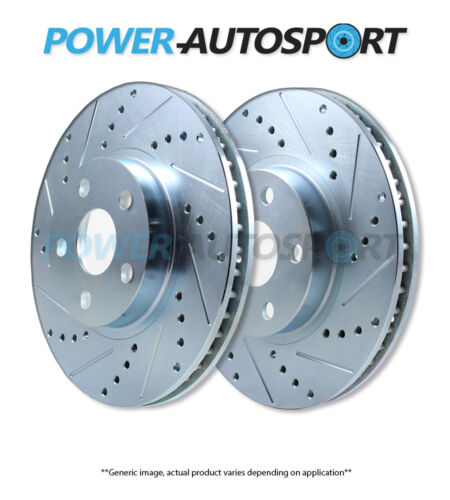 FRONT POWER PERFORMANCE DRILLED SLOTTED PLATED BRAKE DISC ROTORS P53049