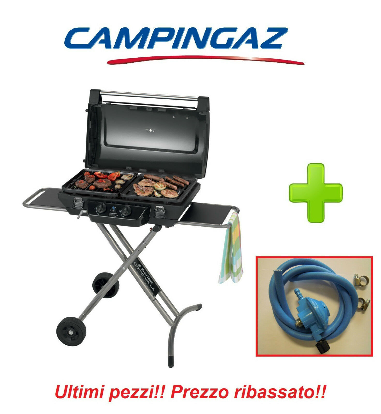 BARBECUE A GAS PORTATILE 2 SERIES COMPACT CAMPINGAZ + KIT REGOLATORE FRANCIA