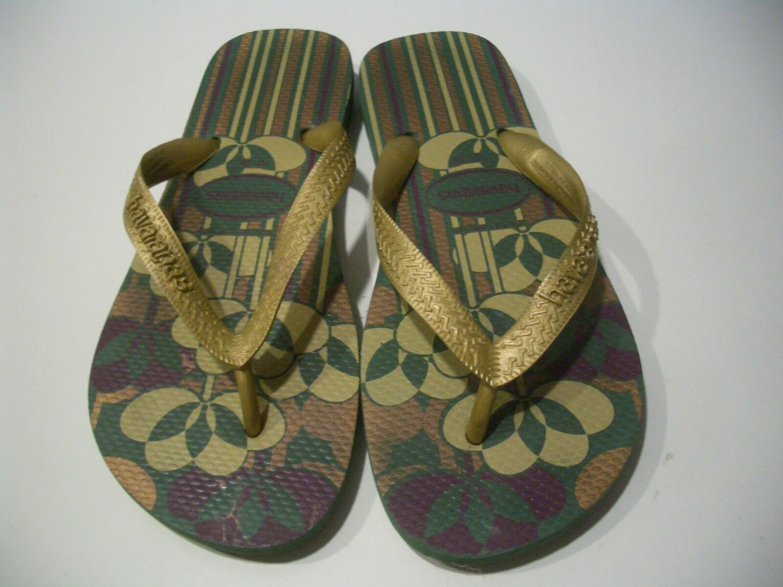 HAVAIANAS SLIM FLORAL/GOLD LADIES M RUBBER THONGS,FLIP FLOPS SZ 9 M LADIES BRAZIL e2cde2