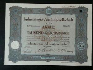 Historische-Aktie-Industriegas-AG-Berlin-1000-RM-von-1929