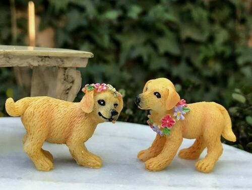 Miniature Dollhouse FAIRY GARDEN Accessories ~ Set 2 Labrador Puppy Dogs Flowers