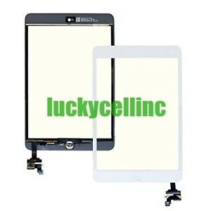 For Ipad Mini 1 2 Touch Screen Digitizer + IC Connector Chip + Home Button White