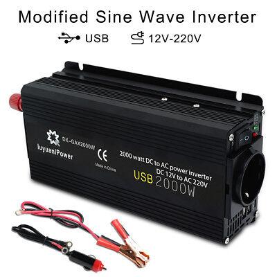 2000w Max Spannungswandler Dc 12v Auf Ac 230v Inverter Wechselrichter 2usb Trip