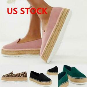 Womens-Ladies-Platform-Comfy-Shoes-Espadrilles-Sandals-Slip-on-Casual-Loafers-US