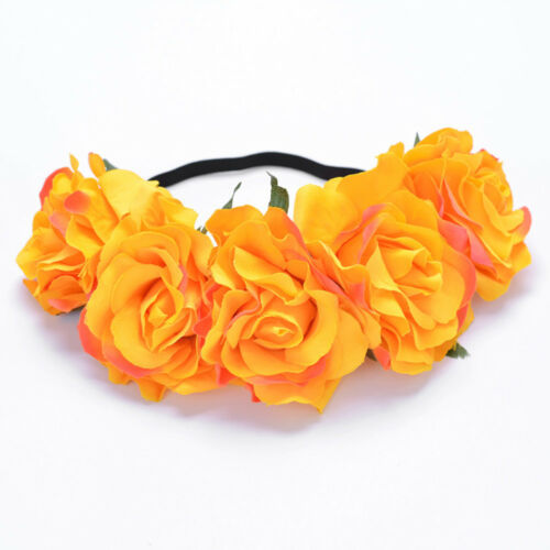 Women Girl Large Rose Flower Hair Head Band Headband Prop Garland Party Acces