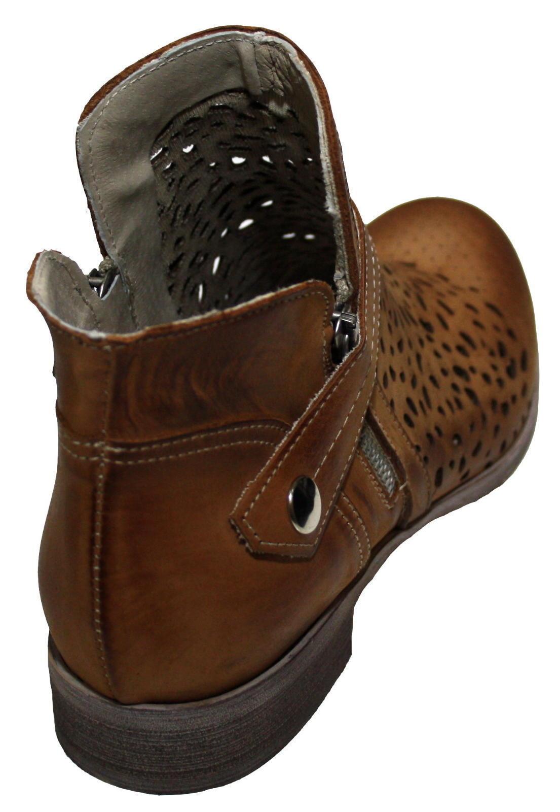 846 Damen Leder Stiefel Stiefeletten Gurt Reißverschlüße kurz braun 37 37 braun 38 39 40 0d4cb6