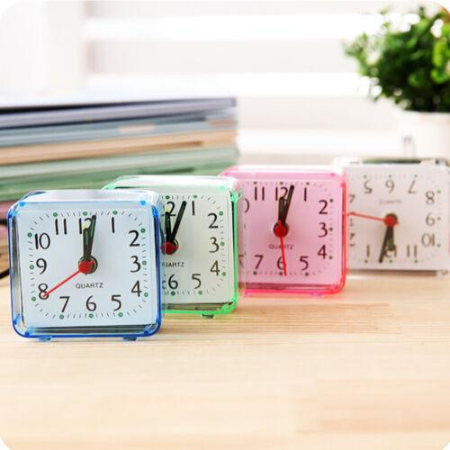 Portable Square Analog Alarm Clock Small Cute Bed Compact Travel Quartz Beep New