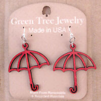 Umbrellas Green Tree Jewelry Cherry Red Laser-cut Wood Earrings Made-usa 1364