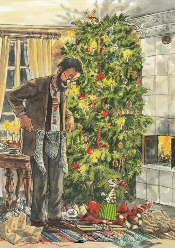 Postkarte Pettersson und Findus bei der Weihnachtsbescherung Nordqvist