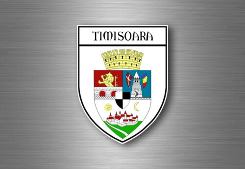 Sticker decal souvenir car coat of arms shield city flag timisoara romania