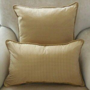 New High Quality Silk Gold Check Cushion Covers Plain Silk Backs Oblong Sq Ebay