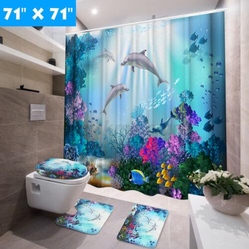 4PCS//Set Bathroom Waterproof Shower Curtain Toilet Rug Cover Anti-slip Bath Mat