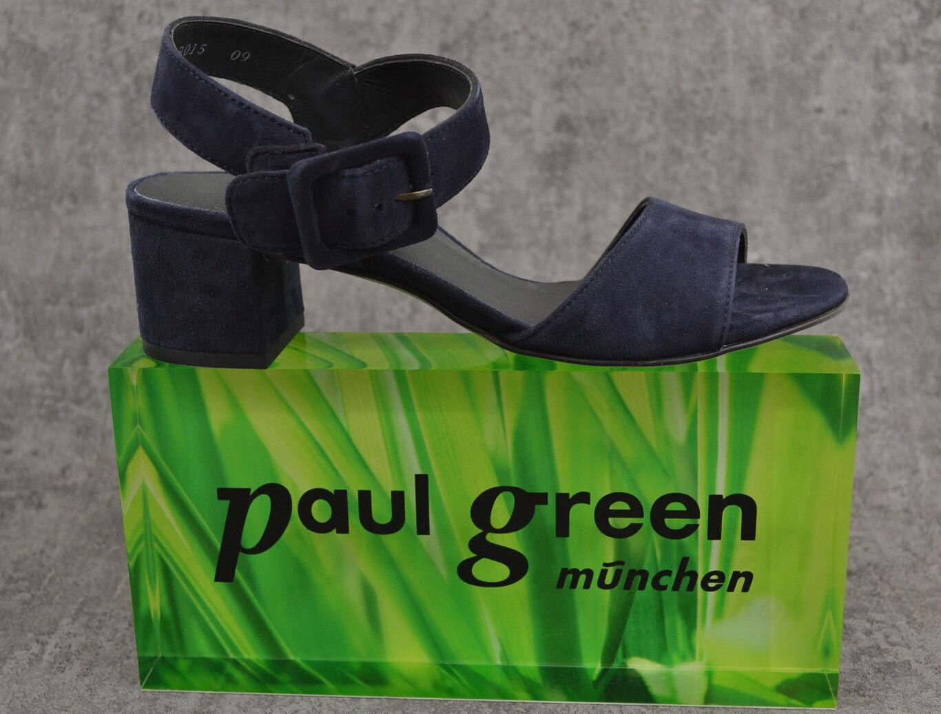 NEU Paul Green  elegante Damen Sandalette Samtziege blau Leder  Green 6092 022 1c959b