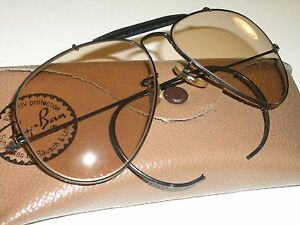 c9a17842f2 VINTAGE B L RAY BAN BLACK BROWN CHANGEABLES UV WRAP-AROUNDS AVIATOR ...