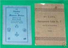 1919 BY LAWS FREE MASONRY MASONIC MASON LEAVENWORTH KANSAS BOOK POCKET SIZE OLD