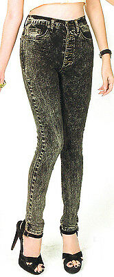 Grunge Bleached Fade Wash Denim High waist Womens Skinny-Slim Jeans Pants  PM