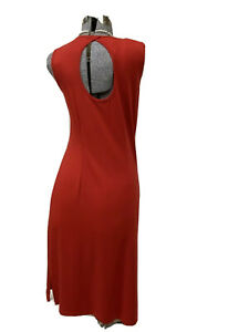 Talbots-Womens-Dress-M-Red-Sleeveless-Career-Beach-Stretch-Lady-In-Red-Open-Back