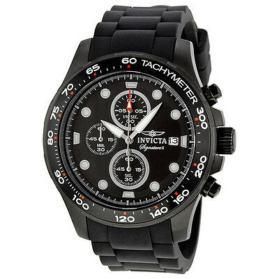 Invicta Signature II Chronograph Black Ion-plated Rubber Strap Mens Watch 7375