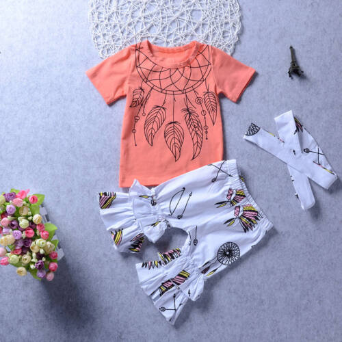 3PCS Toddler Kids Baby Girls Clothes T-shirt Tops+Beach Pants Shorts Outfits Set