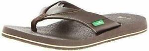 NEW-Sanuk-Men-039-s-Brown-Beer-Cozy-Thong-Flip-Flop-Beach-Sandals-Slippers-1174140