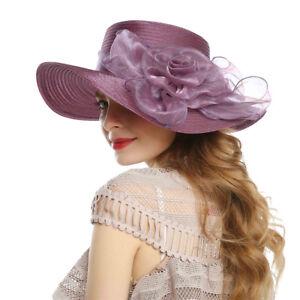 Ladies-Women-Organza-Wide-Brim-Floral-Ribbon-Flower-Derby-Church-Dress-Sun-Hat