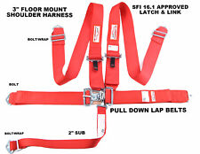 Racing Harness 5 Point Sfi 161 Racing Latch Amp Link 3 Floor Mount Bolt In Red