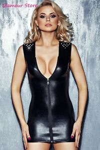 Zipper Mini Wetlook m S Noire 42 Sexy Robe Glamour Stretch 40 Taille OBwxwP4
