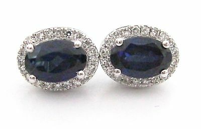 1.21 TCW Natural Oval Blue Sapphire & Diamond Accents Earrings 14k White Gold