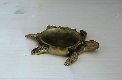 Bronze Aschenbecher Schildkröte / Ca. 12 X 9 Cm Belebende Durchblutung Und Schmerzen Stoppen