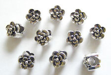 10 Metal Antique Silver Large Hole Flower Shape Spacer Beads -9mm
