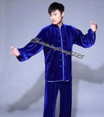 4 Colors Chinese Men's Velvet /silk Kung Fu Tai Chi suit Size: S M L XL 2XL