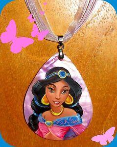 Guscio-Pendente-Russo-Principessa-Jasmine-Collana-Dipinto-a-Mano-Disney