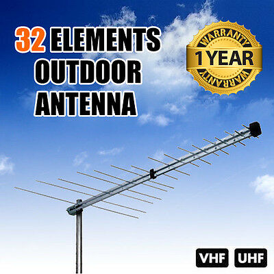 New TV Antenna 32 Element Log Periodic Outdoor UHF VHF FM HDTV Digital Aerial