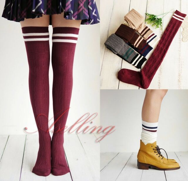 Japan School Girls Cotton Winter Skinny Vivi Socks Thigh-High Hose Stocking S517