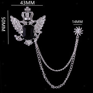 Classic Men/'s Brooch pin Crown With Wing and Sunflower Hanging Chain Brooch