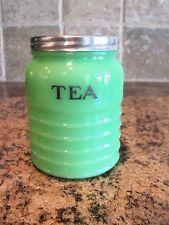 Vintage Jeannette Jadeite Green Depression Glass TEA Canister-Jadite