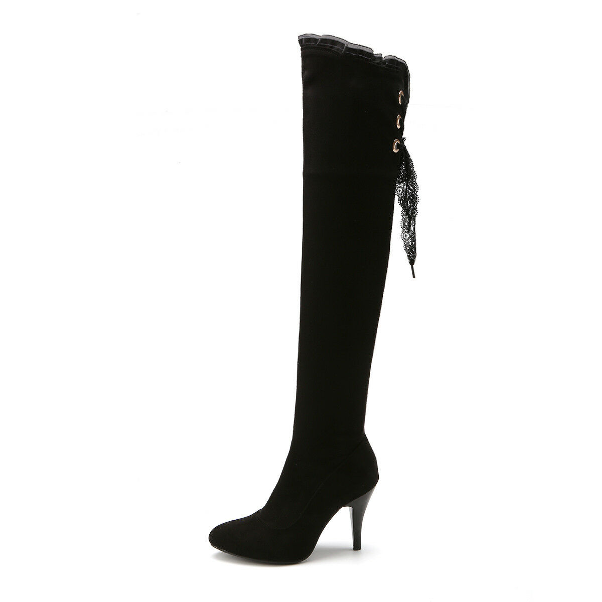 Winter Women's Faux Thigh Suede High Heels Thigh Faux High Over the Knee Boots Shoes Black f2b4d9