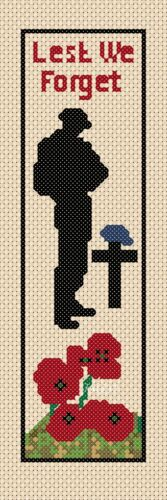bookmark TSG37 Remembrance Day Poppy Lest we forget Cross Stitch Chart