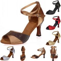 Women Salsa Dance Shoes Ballroom Tango Latin Prom Ball Party Heels Leatherette 7