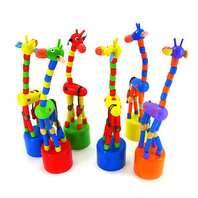 Baby Kids Wooden Toys Developmental Dancing Standing Giraffe Gift Toys