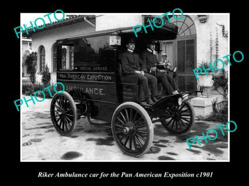 OLD 6 X 4 HISTORIC PHOTO OF RIKER AMBULANCE CAR, PAN AMERICAN EXPOSITION c1901