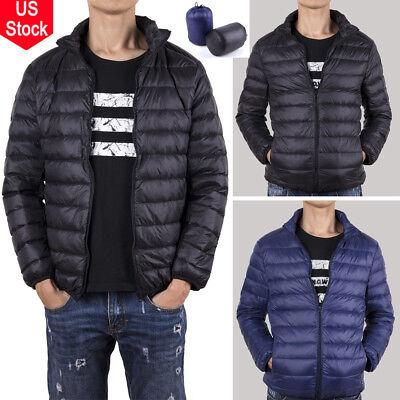 Mens Winter Warm Packable Duck Down Jacket Stand Collar Outdoor Overcoat Coat UK