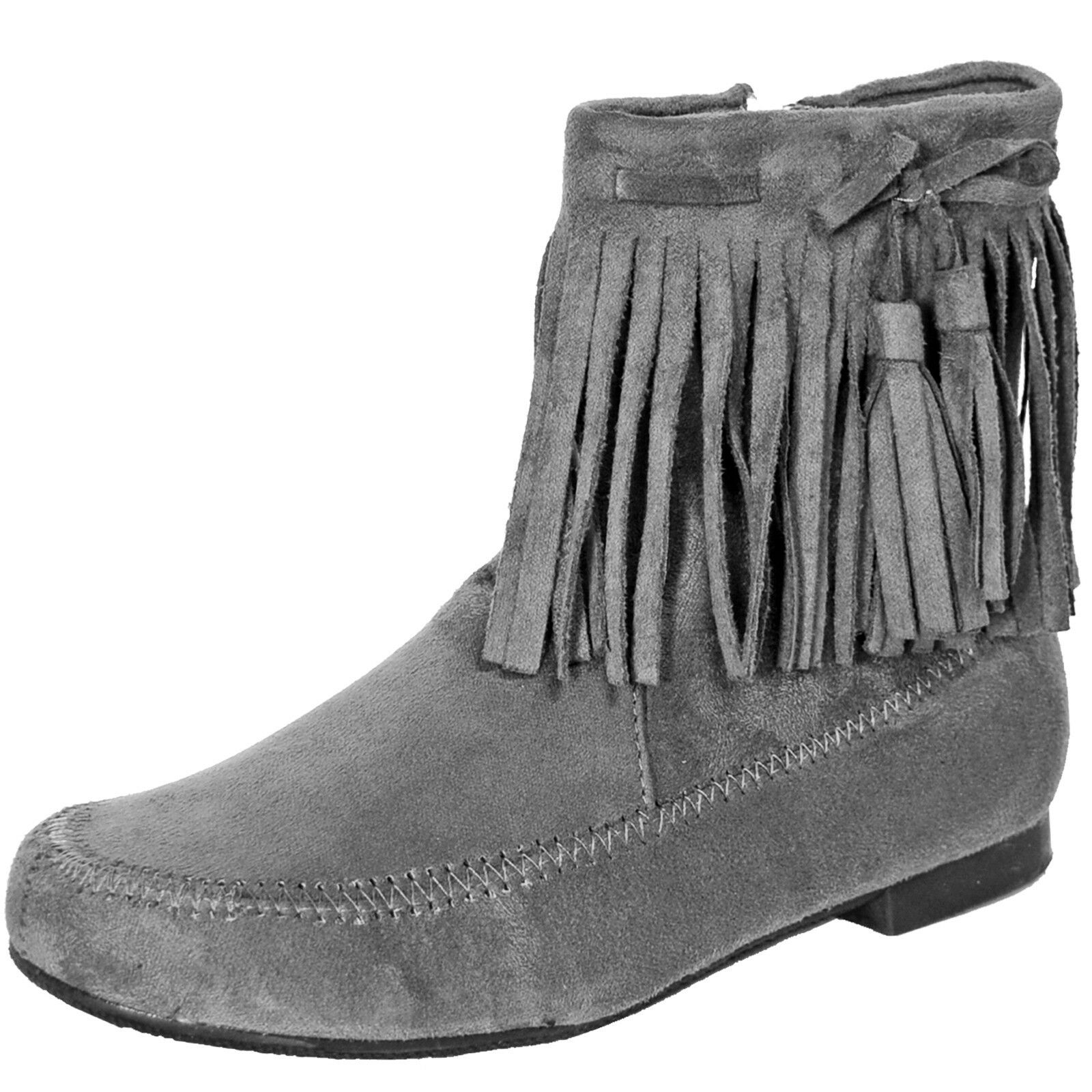 New women's shoes ankle boots fashion suede like side zipper fringe detail gray