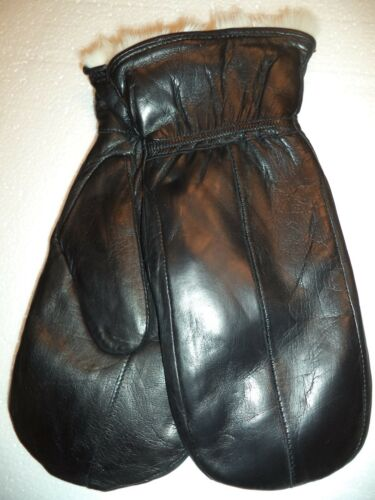 Soft Leather Mittens Black-See Description for Pics Cire White Rabbit Fur Lined
