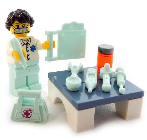 md NEW LEGO DOCTOR MINIFIG LOT surgeon female chart nurse hospital medical dr