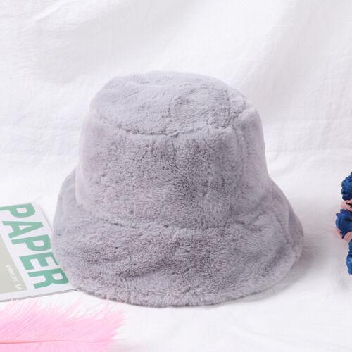 Mode Weich Warm Solid Winter Bucket Hat Pelz von Faux Verdickt Vacation Cap