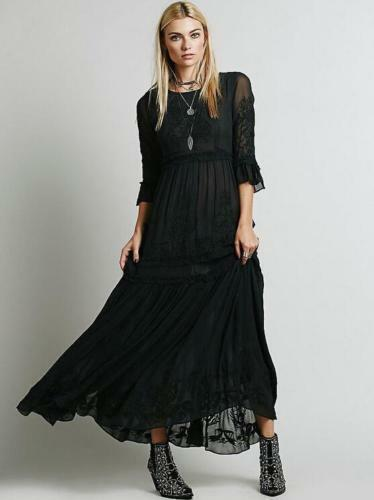 Womens Bohemia Vintage Embroidery Cotton Blend Full-Length Skirt Dress Boho Hot