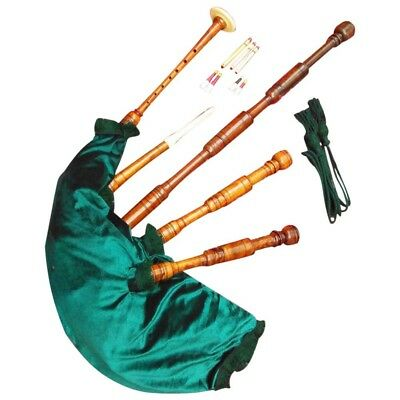 SCOTTISH GREAT HIGHLAND BAGPIPE SHEESHAM WOOD FULL SET//DUDELSACK,GAITA,BAGPIPES