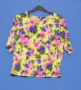NEW-LOOK-GREEN-FLOWER-PATTERNED-ROUND-NECK-SHORT-SLEEVE-TOP-SIZE-12