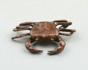 43MM-Collection-Chinese-Bronze-Animal-Crab-PangXie-Wealth-Small-Statue-Statuary